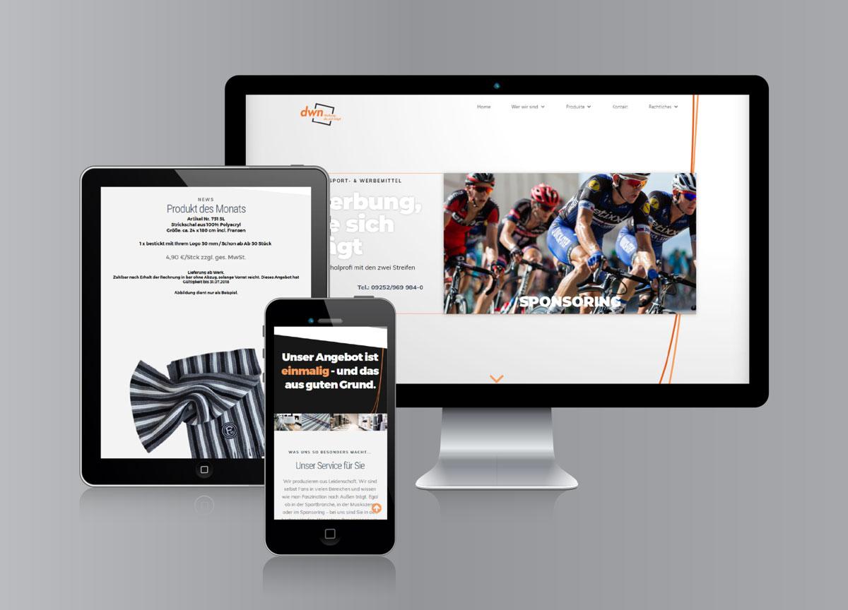 dwn-textilwerbung, Webseite
