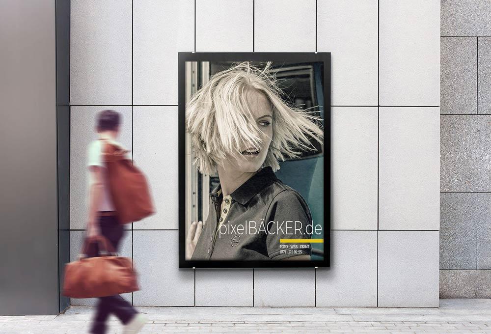 Pixelbäcker Plakat, Fotodesign