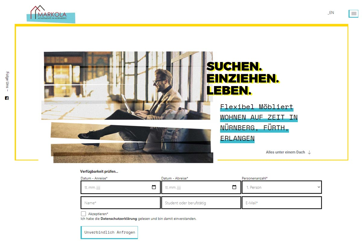 Webseite, flexibel-wohnen-de